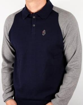 Luke Whacker 2 Tone Knitted Polo Navy