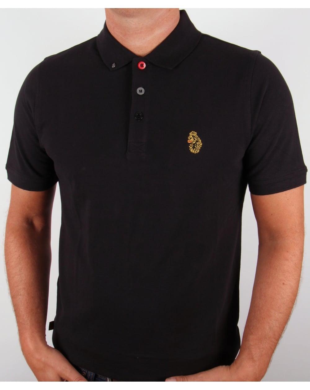 Luke Williams Polo Shirt Black Cotton Mens Smart