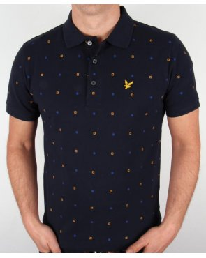 Lyle And Scott Archive Micro Print Polo Shirt Navy