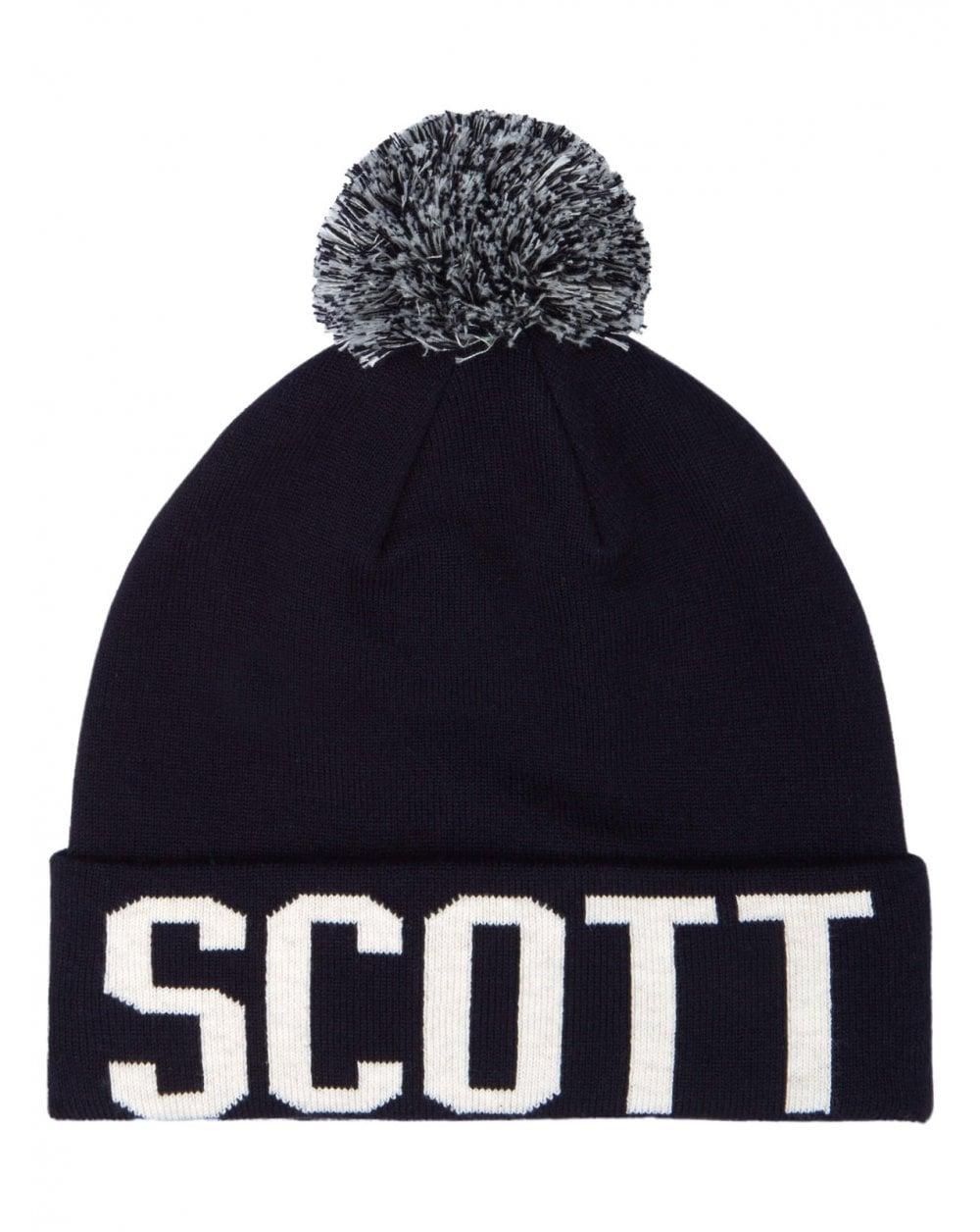 0b4d49f6e30 Lyle And Scott Block Logo Bobble Hat Navy