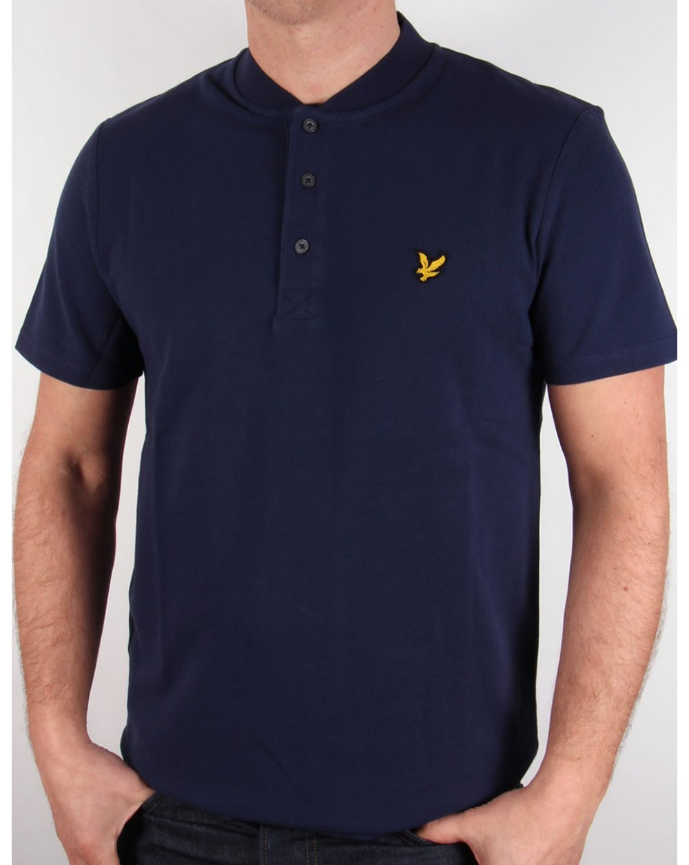Lyle And Scott Bomber Collar Polo Shirt Navy Blue Neck