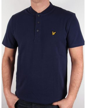 Lyle And Scott Bomber Collar Polo Shirt Navy Blue