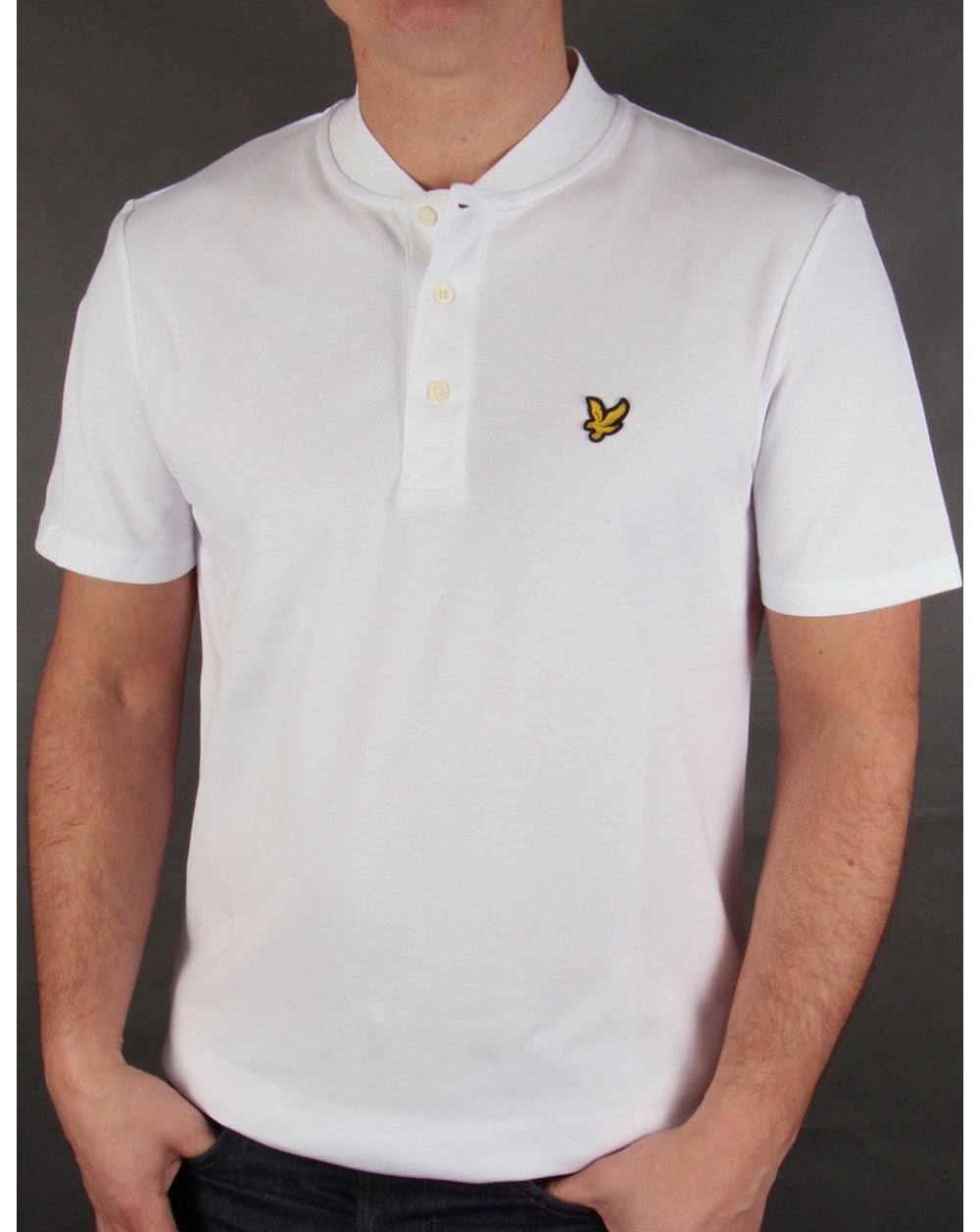 lyle and scott bomber collar polo shirt white neck mens sale. Black Bedroom Furniture Sets. Home Design Ideas