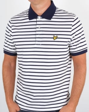 Lyle And Scott Breton Stripe Polo Shirt Off White
