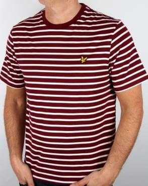 Lyle And Scott Breton Stripe T-shirt Claret Jug