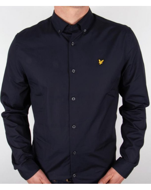 Lyle And Scott Button Down Collar Shirt Navy