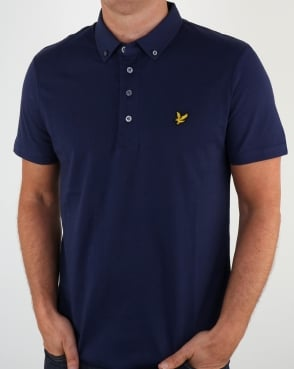 Lyle And Scott Button Down Polo Shirt Navy