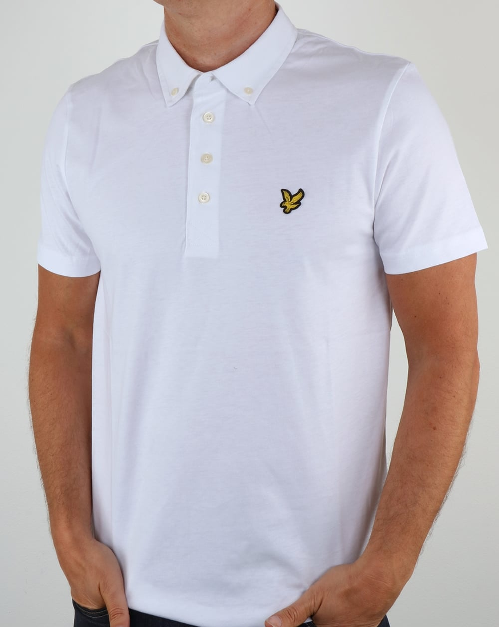Lyle and scott woven collar polo shirt white short sleeve for White button down collar shirt
