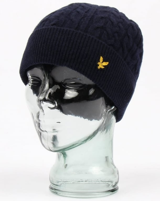 Lyle and Scott Cable Beanie Navy
