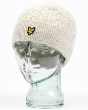 Lyle And Scott Cable Beanie Off White Marl