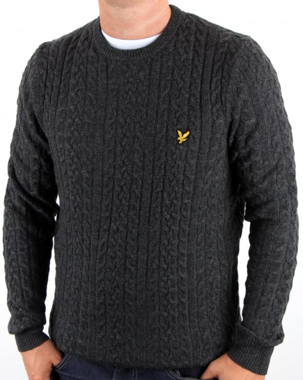 Lyle And Scott Cable Jumper Charcoal Marl