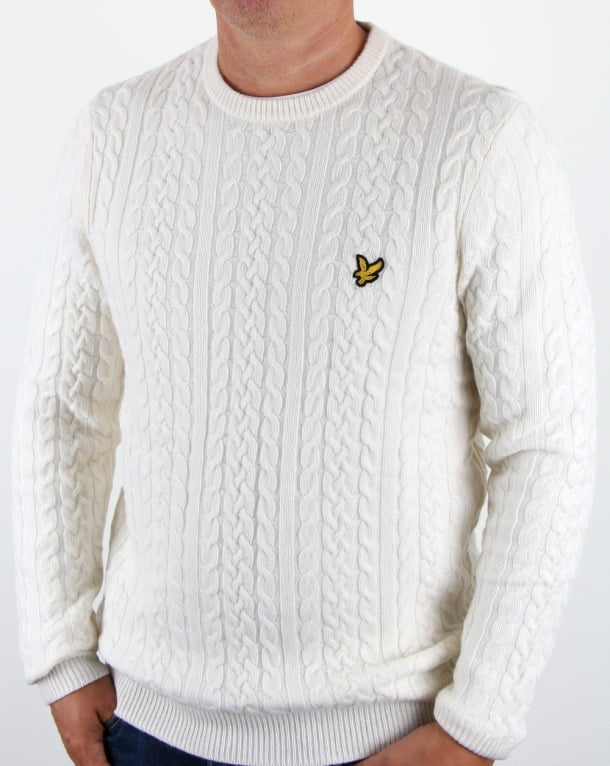 Lyle and Scott Cable Jumper Off White