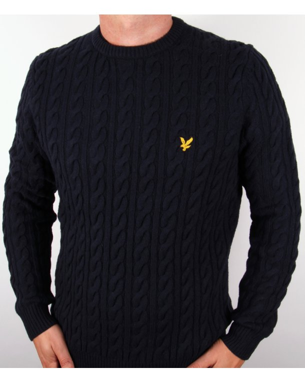 Lyle And Scott Cable Knit Crew Neck Jumper New Navy