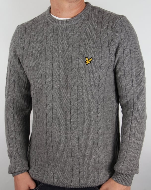 Lyle And Scott Cable Knit Lambswool Jumper Grey Marl