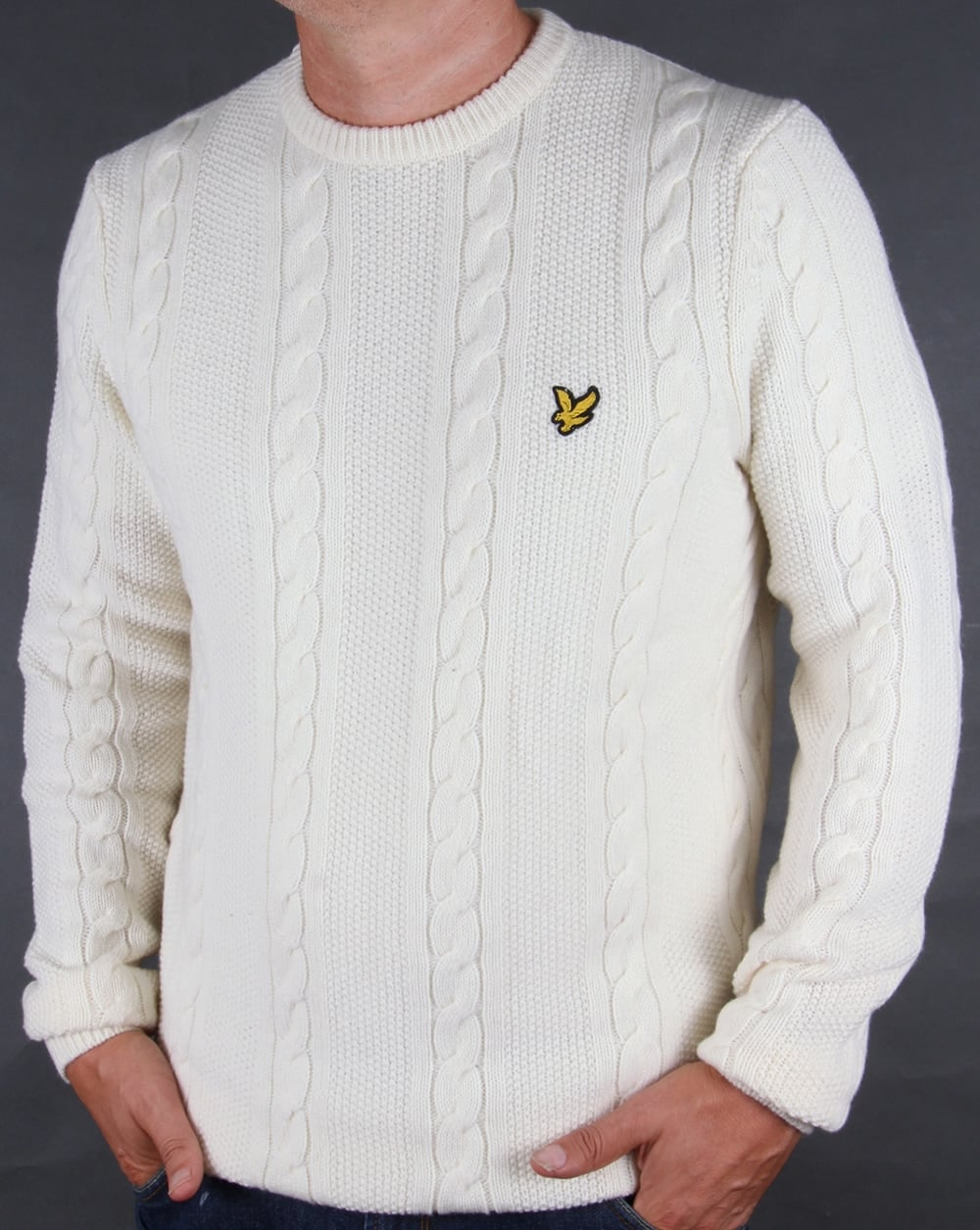 lyle and scott cable knit lambswool jumper ivory sweater crew neck. Black Bedroom Furniture Sets. Home Design Ideas