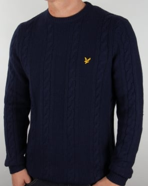 Lyle And Scott Cable Knit Lambswool Jumper Navy