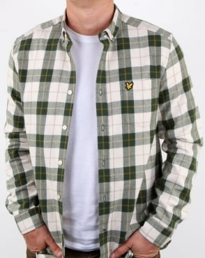 Lyle And Scott Check Flannel Shirt Leaf Green