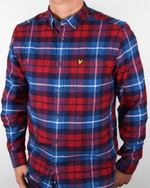 Lyle And Scott Check Flannel Shirt Navy/Red