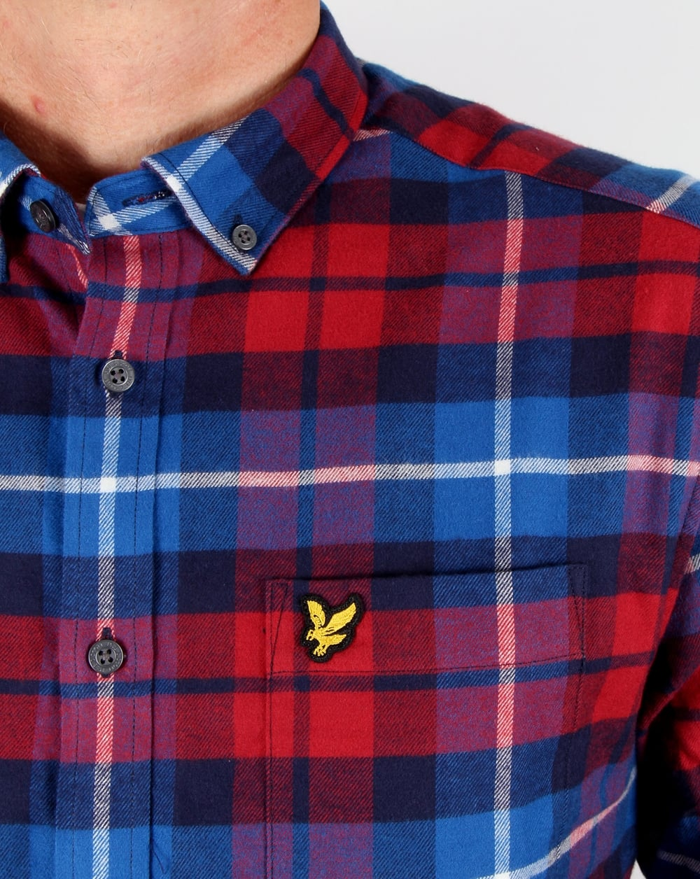 Lyle and scott check flannel shirt navy red long sleeve for Navy blue and red flannel shirt