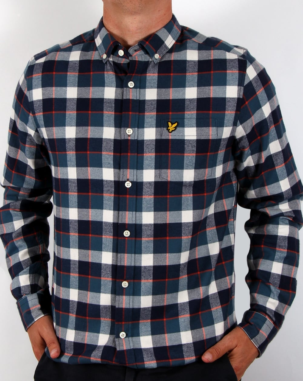 Lyle and scott check flannel shirt off white checked for White flannel shirt mens