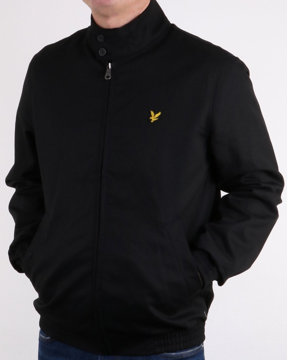 lyle and scott check lined harrington jacket black mens. Black Bedroom Furniture Sets. Home Design Ideas