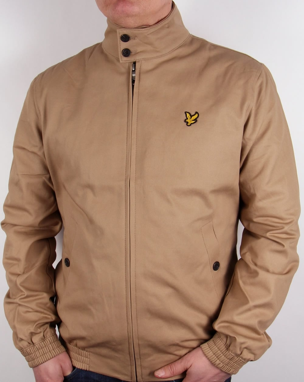 lyle and scott check lined harrington jacket dark sand. Black Bedroom Furniture Sets. Home Design Ideas
