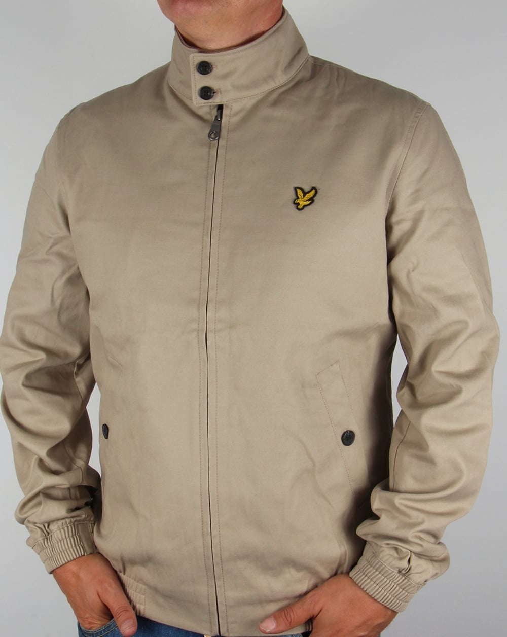 lyle and scott check lined harrington jacket stone mens coat. Black Bedroom Furniture Sets. Home Design Ideas