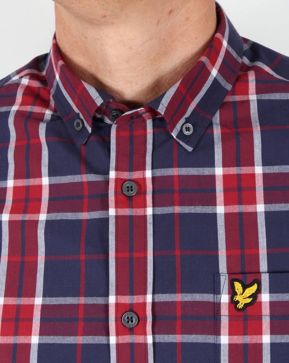 Lyle and scott check shirt rubychequered button down mens for Lyle and scott shirt sale