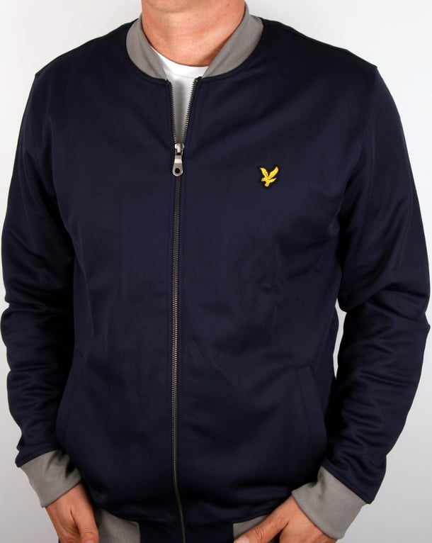 Lyle And Scott Contrast Rib Bomber Sweatshirt Navy