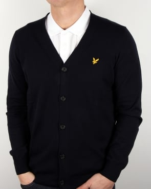Lyle And Scott Cotton Merino Cardigan Navy