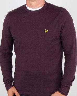 Lyle And Scott Cotton Merino Crew Jumper Deep Plum