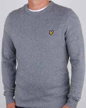 Lyle And Scott Cotton Merino Crew Jumper Mid Grey Marl