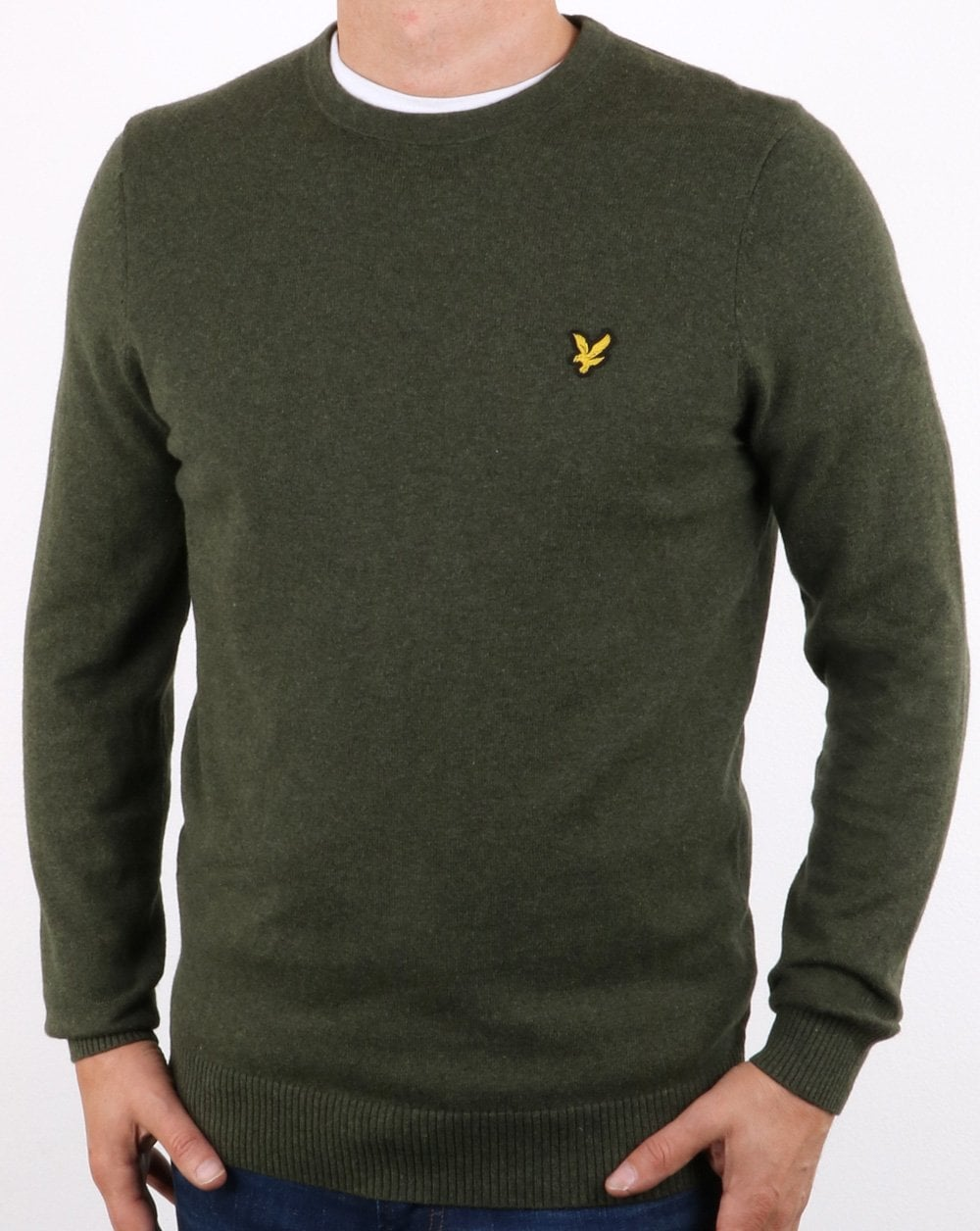 bac987c47c55 Lyle and Scott Lyle And Scott Cotton Merino Crew Jumper Woodland Green