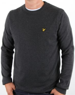 Lyle And Scott Crew Neck Cotton Merino Jumper Charcoal Marl