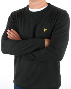 Lyle And Scott Crew Neck Cotton Merino Jumper Forest Green Marl