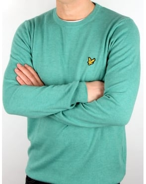 Lyle And Scott Crew Neck Cotton Merino Jumper Mid Green