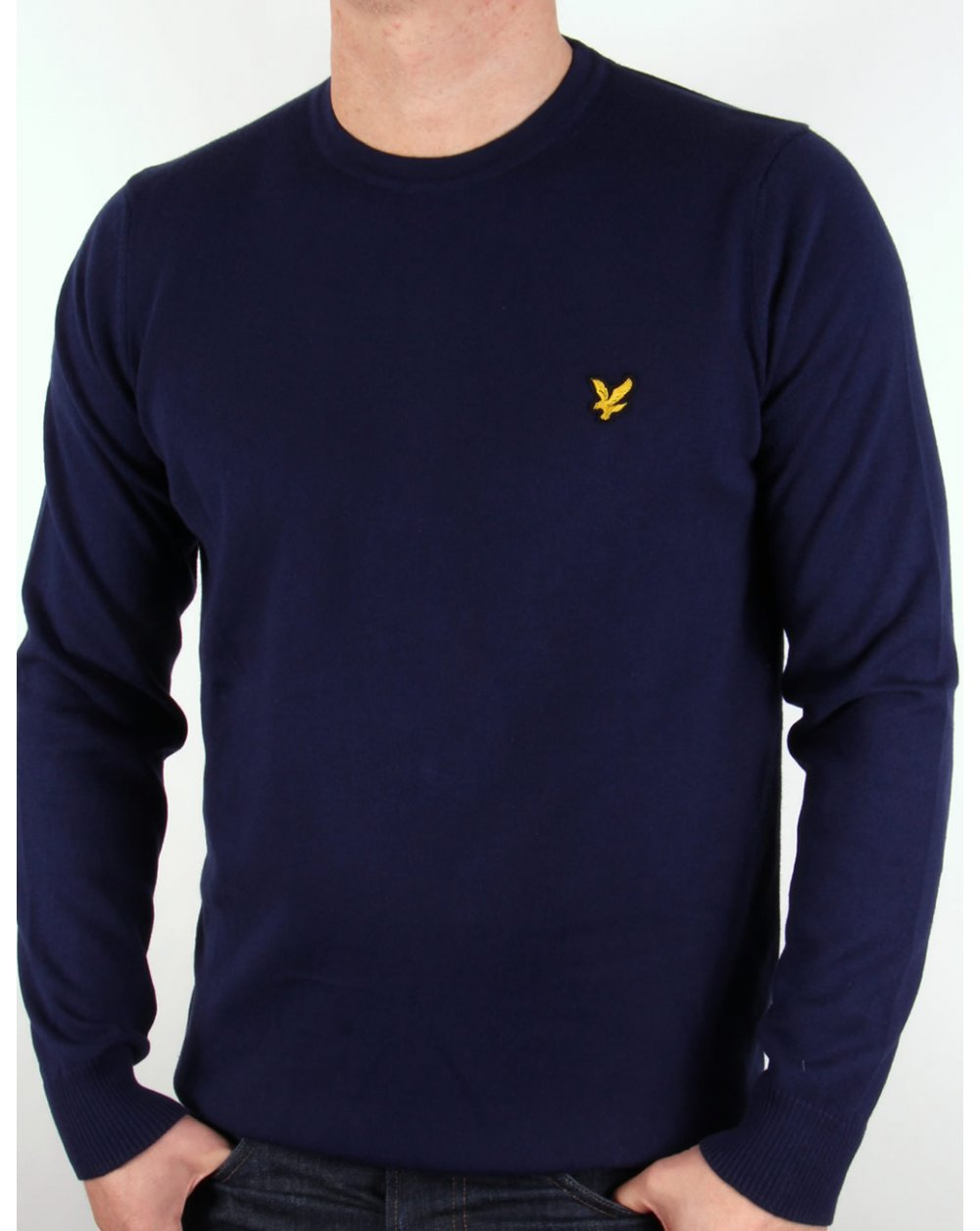lyle and scott crew neck cotton merino jumper navy blue. Black Bedroom Furniture Sets. Home Design Ideas