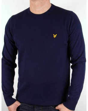Lyle And Scott Crew Neck Cotton Merino Jumper Navy Blue
