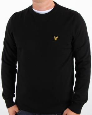 Lyle And Scott Crew Neck Cotton Merino Jumper True Black