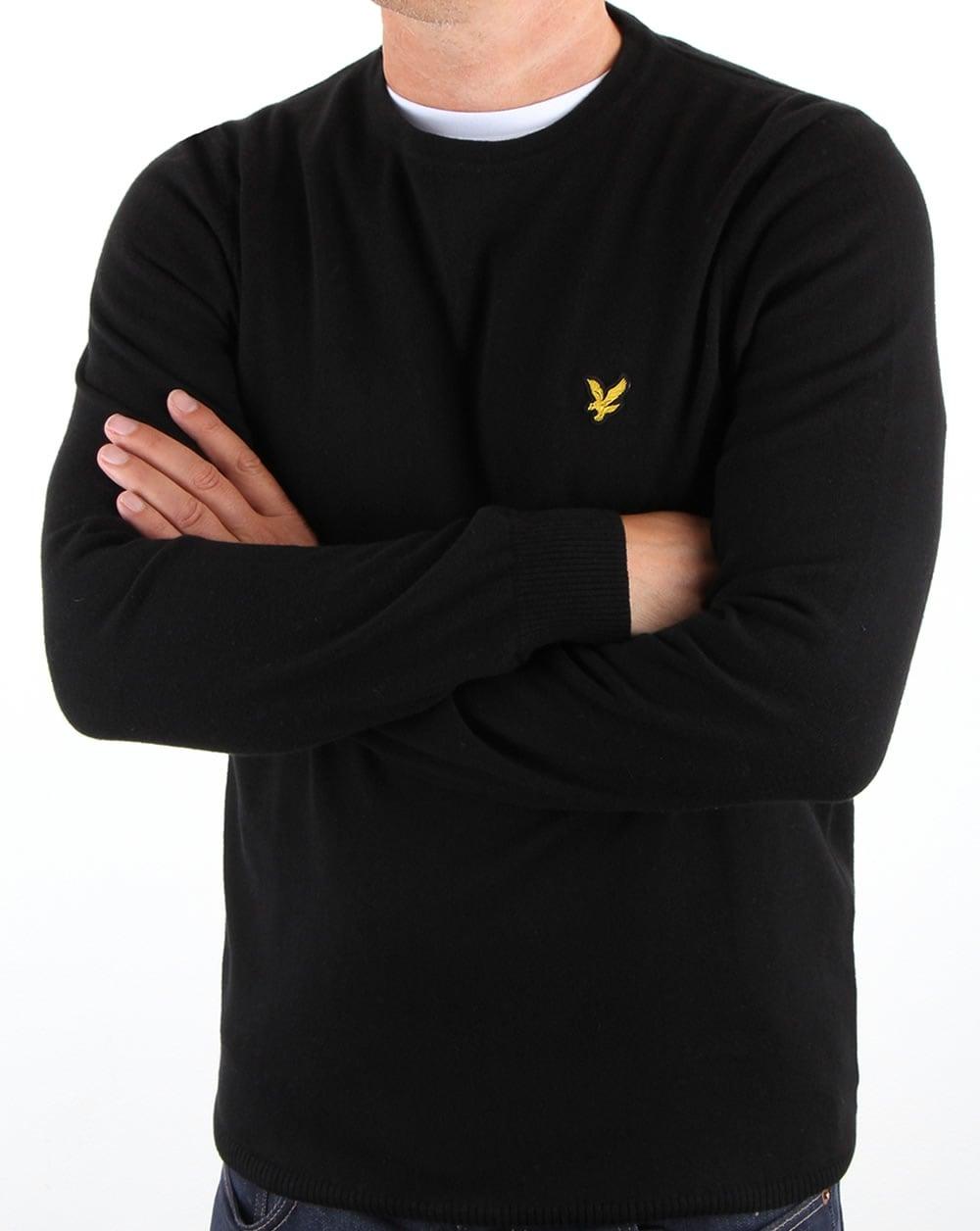 lyle and scott merino jumper true black crew neck cotton knit mens. Black Bedroom Furniture Sets. Home Design Ideas