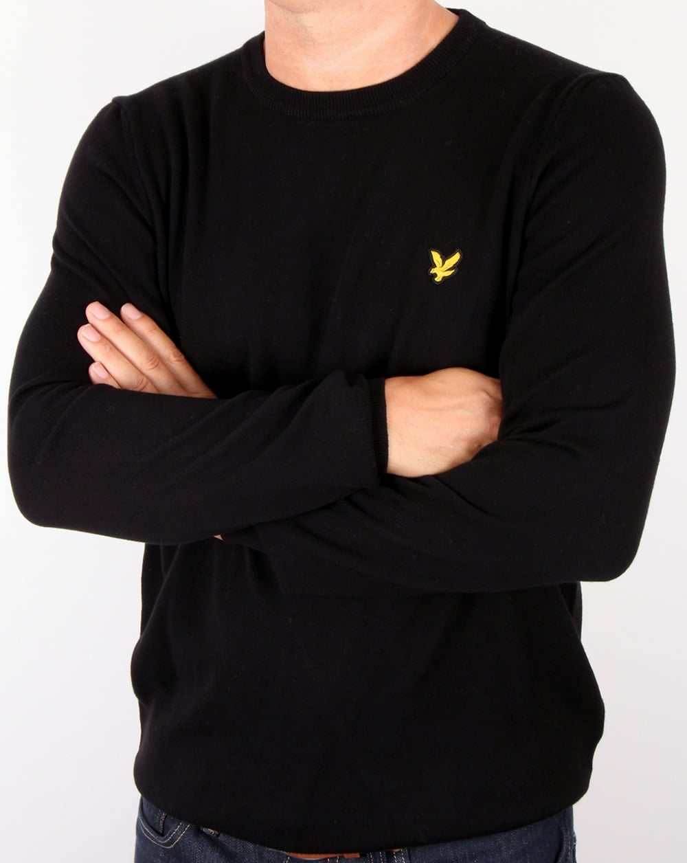 lyle and scott crew neck jumper black round cotton mens. Black Bedroom Furniture Sets. Home Design Ideas