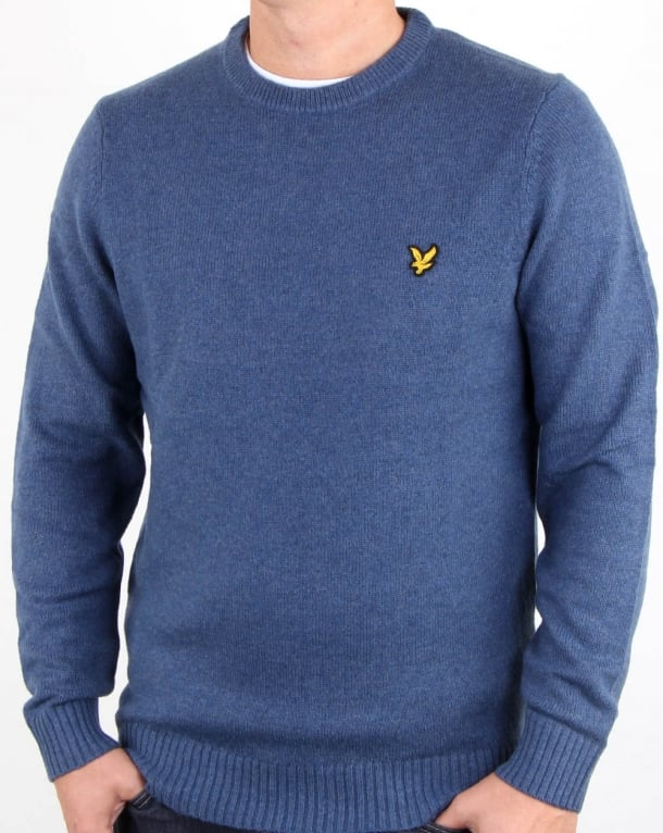 Lyle And Scott Crew Neck Lambswool Blend Jumper Mist Blue Marl