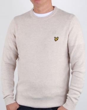 Lyle And Scott Crew Neck Lambswool Blend Jumper Sandy Marl