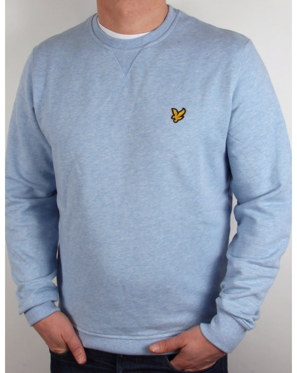 lyle and scott crew neck sweatshirt blue marl jumper sweater round. Black Bedroom Furniture Sets. Home Design Ideas