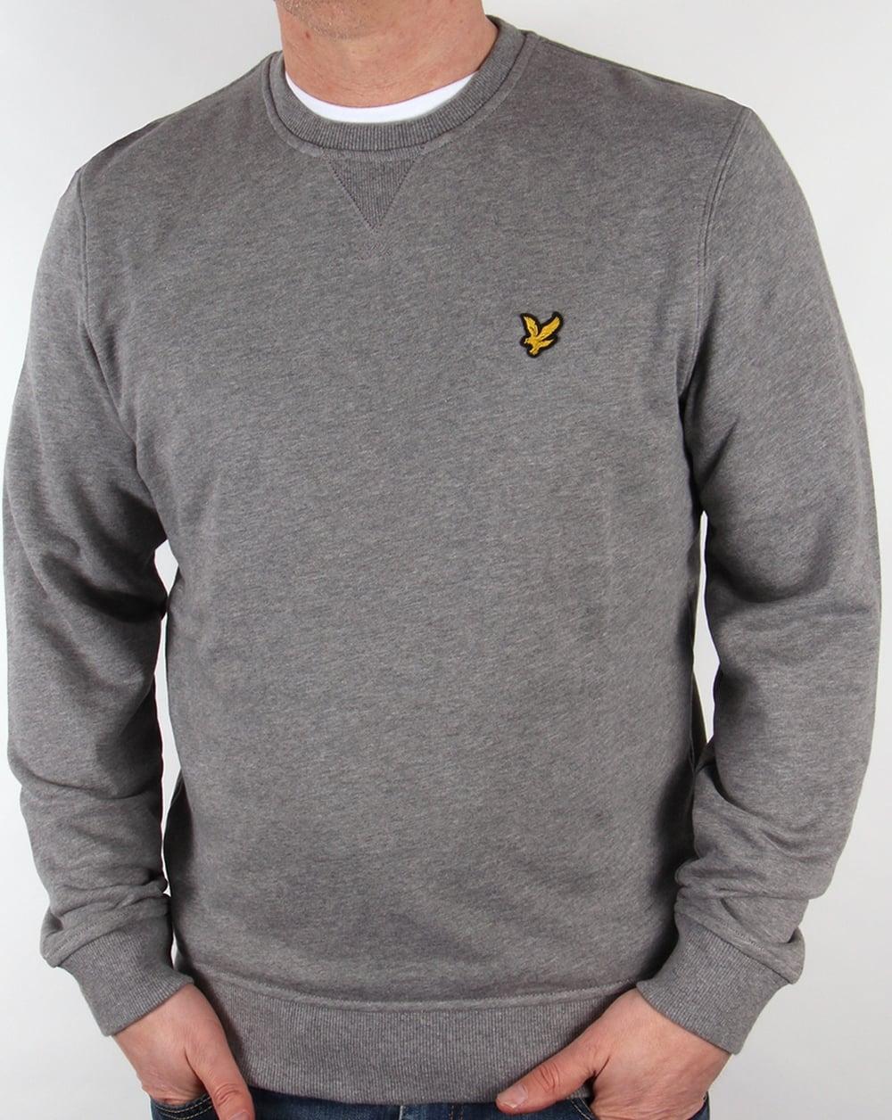 lyle and scott crew neck sweatshirt mid grey marl jumper sweater mens. Black Bedroom Furniture Sets. Home Design Ideas