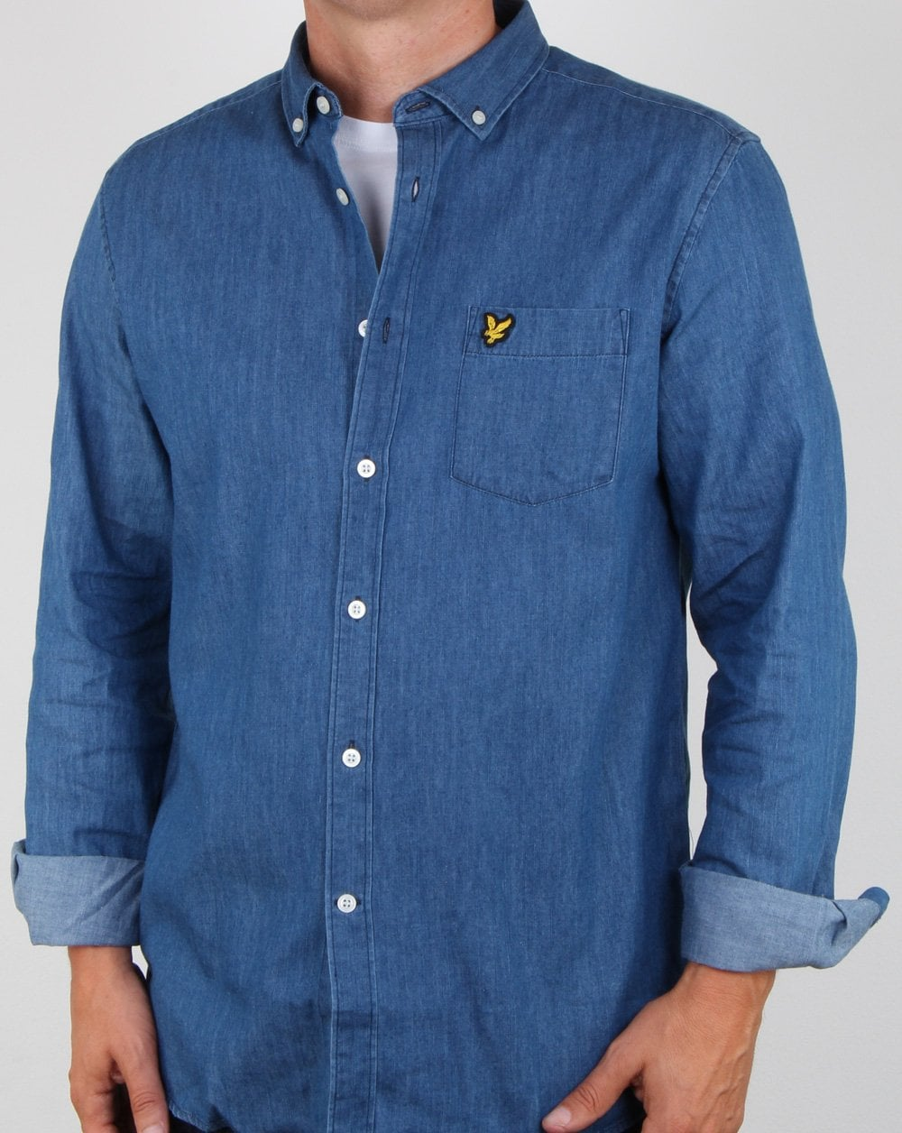 a7645cd024590f Lyle And Scott Denim Shirt Light Indigo Blue | 80s casual classics