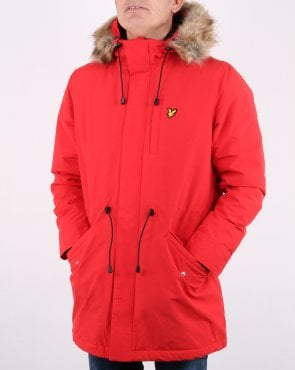Lyle And Scott Detachable Fur fleece Lined Parka Red