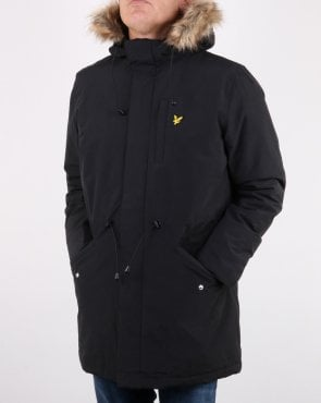 Lyle And Scott Detachable Fur fleece Lined Parka True Black