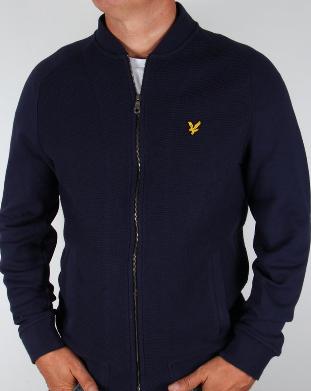 lyle and scott double faced bomber navy track top jacket. Black Bedroom Furniture Sets. Home Design Ideas
