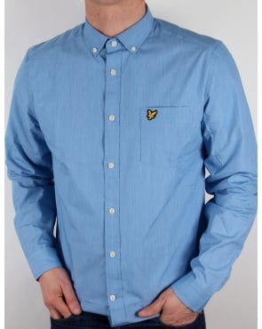 Lyle And Scott End On End Long Sleeve Shirt Deep Cobalt